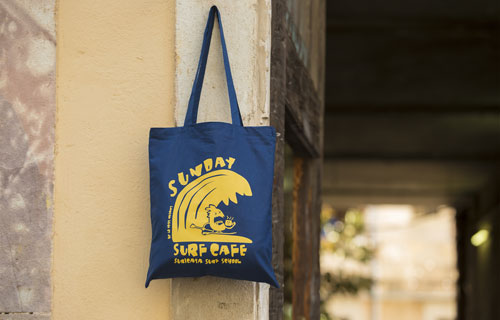 tote bag serigrafiada Sunday Surf school